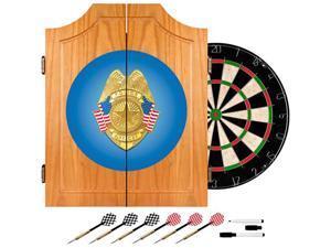 Trademark Poker Police Officer Wood Dart Cabinet Set