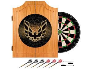 Trademark Poker Pontiac Firebird Black Wood Dart Cabinet Set