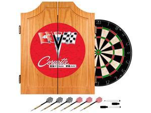 Trademark Poker Corvette C2 Red Wood Dart Cabinet Set