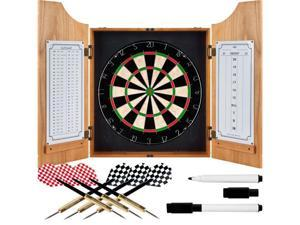 Trademark Poker TGT Beveled Wood Dart Cabinet - Pro Style Board and Darts