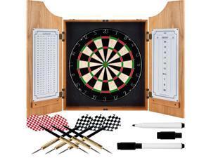 Trademark Poker TGT Beveled Wood Dart Cabinet - Pro Style Board and Darts