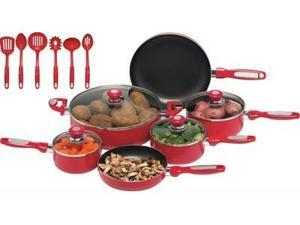 Chef s Secret 16pc Red Aluminum Cookware Set