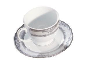 Ten Strawberry Street Vanessa Platinum - 6 Oz Cup And Saucer - Set Of 6