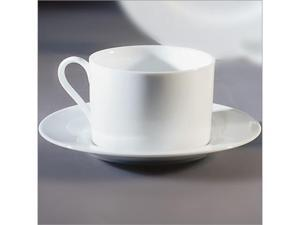 Ten Strawberry Street Z-Ware White - 6 Oz Can Cup And Saucer - Set Of 6
