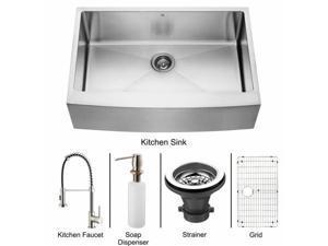 Vigo VG15103 Farmhouse Stainless Steel Kitchen Sink, Faucet, Grid, Strainer and Dispenser