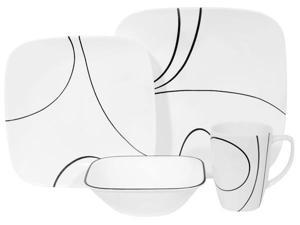 Corelle Dinnerware 1069983 Square 16-Pc Set- Service for 4 -Simple Lines