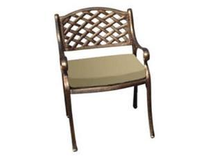 DC America DC3001-BR-CU Mesh Arm Chairwith Cushion - Heavy-Duty Rust Free Cast Aluminum Construction- Bronze Powder-Coated Finish- Long Wear Cushion- Size- 22in L x 17.50in W x 33in H