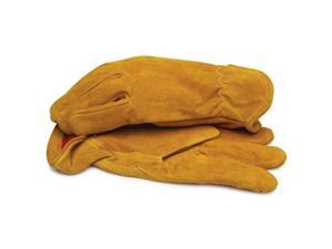 BlackCanyon Outfitters 91030-L Split Leather Gloves with Red Fleece Lining and Elastic Wrist Large