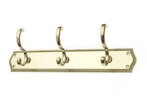 JVJHardware 21613 Mud Room Accessories 15 in.Roped Triple Rail Hook - Solid Brass