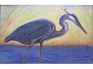 "Betsy Drake DM027 Great Blue Heron Door Mat 18""x26"""