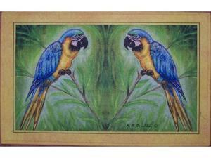 "Betsy Drake DM032 Blue Macaw Door Mat 18""x26"""