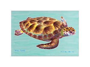 "Betsy Drake DM044 Green Sea Turtle 18""x26"" Door Mat"