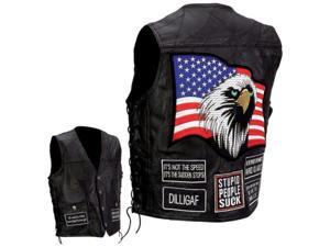 Diamond Plate Motorcycle Vest with Patches- M