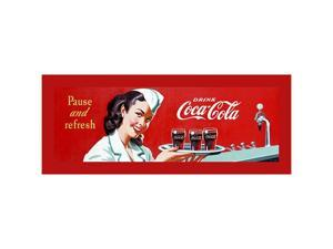 Coke Waitress Stretched Canvas Print 12 x 36 Inch