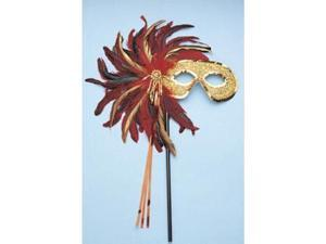 Franco American Novelty 33707 Majestic Feather Mask With Stick - Red And Gold
