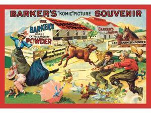 Buyenlarge 07463-9P2030 Barker&NO.39s Komic Picture Souvenir - Barnyard Tussle 20x30 poster