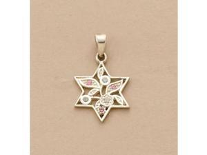Rite Lite JSN-604-PK Sterling Silver Star of David Pendant - Pink CZ