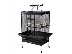 Prevue Hendryx PP-3154BLK Select Wrought Iron Play Top Parrot Cage - Black