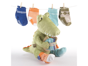 Baby Aspen BA15010GN Croc in Socks Plush Toy and Baby Socks Gift Set - Green