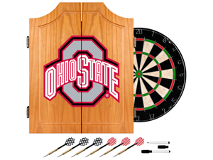 Trademark Poker LRG7000-OSU-BLK Ohio State University Dart Cabinet Includes Darts and Board