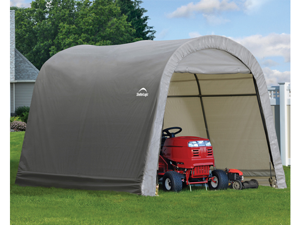 ShelterLogic 70435 10x10x8 ft. - 3x3x2,4 m Round Style Storage Shed,  Grey Cover