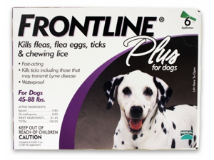 MERIAL 004FLTSP6-45-88 Frontline Plus Flea & Tick for Dogs 45-88 lbs, 6 Month