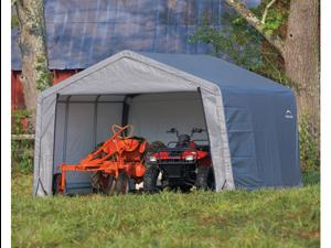 ShelterLogic 70443 12-12-8 Peak Style Storage Shed, 1-.38 in.  Frame, Grey Cover