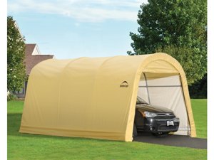 ShelterLogic 62689 10x15x8 ft. - 3x4,6x2,4 m  Round Style Auto Shelter, 1-.38 in.  - 3,5 cm 4-Rib Frame, Sandstone Cover