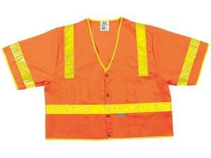 River City 611-CL3SOVX2 Lum. Class Iii Poly Fluorescent Safety Vest Orng