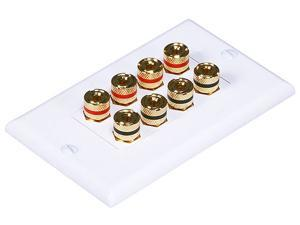 CMPLE 570-N Speaker Wall Plate- High Quality Banana Binding Post for 4 Speaker- Decoro