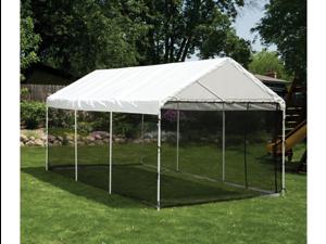 ShelterLogic 23531 10 ft. -20 ft.  Canopy, 1-.38 in.  8-Leg Frame, White Cover, Screen Kit