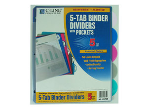 C-Line Products Inc CLI05750 5 Tab Poly Index Dividers With Slant Pocket Assorted 5 Stand Tab