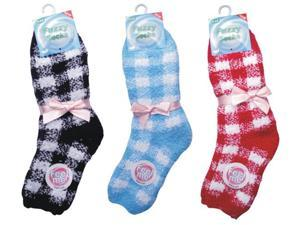 Bulk Buys Check Fuzzy Socks - Case of 72