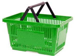 Bulk Buys - Green Heavy Duty Jumbo Shopping Basket With Plastic Handles - Case of 12