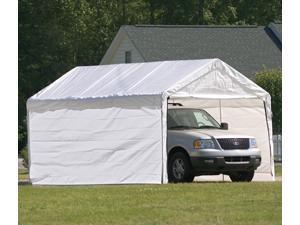 ShelterLogic 23572 10 ft. -20 ft.  Canopy, 2 in.  8-Leg Frame, White Cover, Enclosure Kit
