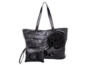 Parinda JUNE 11065 Faux Leather Large Tote with Wristlet - Black