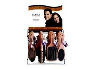 Bulk Buys Terra Wood Hairbrush In Display - 6 Displays - Case of 144