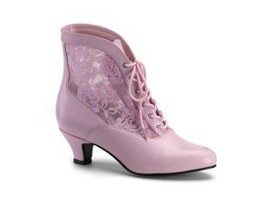 Funtasma Dame-05 B.Pink Pu-Lace Victorian Ankle Boot 2 Inch Size 7