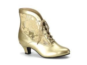 Funtasma Dame-05 Gold Pu-Lace Victorian Ankle Boot 2 Inch Size 6