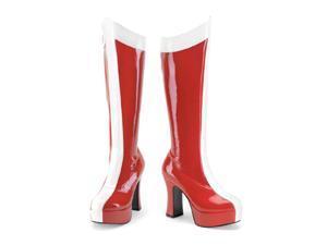 Funtasma Exotica-305 Red-White Stretch Pat Wonder Woman Boot 4 Inch Size 7