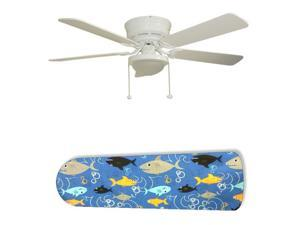 New Image Concepts 2685 52 in. Ceiling Fan with Lamp - Fish Frenzy Swimming Shark