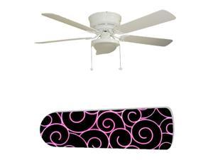 New Image Concepts 2747 52 in. Ceiling Fan with Lamp - Hot Pink Swirls on Black