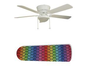 New Image Concepts 2859 52 in. Ceiling Fan with Lamp - Rainbow Peace Signs
