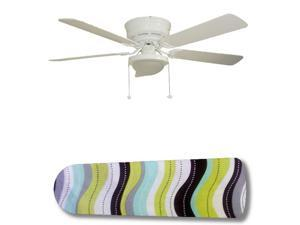 New Image Concepts 3141 52 in. Ceiling Fan with Lamp - Wavy Wonder Aqua Black Green White