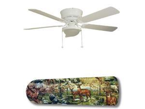 New Image Concepts 3157 52 in. Ceiling Fan with Lamp - Outdoor Wildlife Deer Racoon Turkey