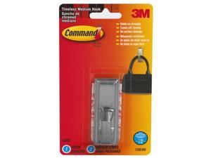 3M 17061BN Command Timeless Brushed Nickel Finish Medium Hook 1 hook, 2 strips
