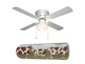 New Image Concepts 2041 52 in. Ceiling Fan with Lamp - Farm Kitchen Cows