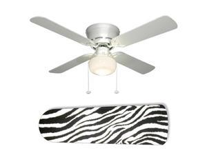New Image Concepts 2149 52 in. Ceiling Fan with Lamp - Zebra Black and White