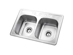 Kingston Brass GKTD33226 Gourmetier GKTD33226 Self-Rimming Double Bowl Kitchen Sink, Brushed Nickel