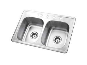 Kingston Brass GKTD33227 Gourmetier GKTD33227 Self-Rimming Double Bowl Kitchen Sink, Brushed Nickel